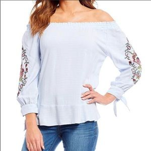 3/$25 Democracy Off The Shoulder Embroidered Shirt